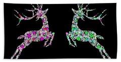 Reindeer Design By Snowflakes Bath Towel