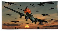 A B-17 Flying Fortress Is Set Ablaze Hand Towel
