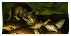 A Cat With Trout Perch And Carp On A Ledge Hand Towel