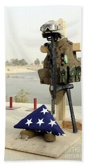 A Fallen Soldiers Gear Display Hand Towel