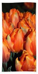 Bath Towel featuring the digital art A Field Of Orange Tulips by Eva Kaufman