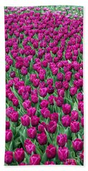 Bath Towel featuring the photograph A Field Of Tulips by Eva Kaufman