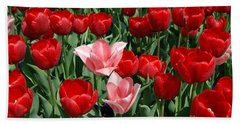 Bath Towel featuring the digital art A Field Of Tulips Series 3 by Eva Kaufman