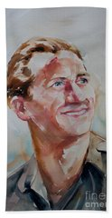 Hand Towel featuring the painting A Great Man by Barbara McMahon