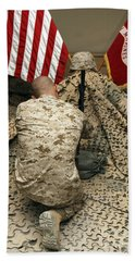 A Marine Kneels Before The Rifle, Boots Hand Towel