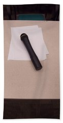 Bath Towel featuring the photograph A Microphone On The Lectern Of A Presentation Room by Ashish Agarwal