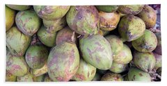 Bath Towel featuring the photograph A Number Of Tender Raw Coconuts In A Pile by Ashish Agarwal