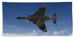 A Qf-4e Aircraft Flies Over The Gulf Hand Towel