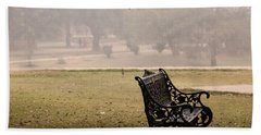 A Wrought Iron Black Metal Bench Under A Tree In The Qutub Minar Compound Hand Towel by Ashish Agarwal