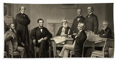 Hand Towel featuring the photograph Abraham Lincoln At The First Reading Of The Emancipation Proclamation - July 22 1862 by International  Images