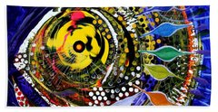 Abstract Busy Bee Fish Bath Towel