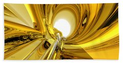 Hand Towel featuring the digital art Abstract Gold Rings by Phil Perkins