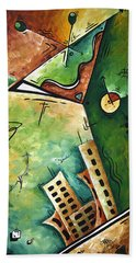 Abstract Martini Cityscape Contemporary Original Painting Martini Hour By Madart Hand Towel