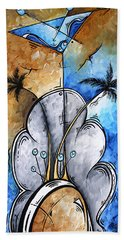 Abstract Martini Tropical Contemporary Original Painting Martini On The Beach By Madart Hand Towel