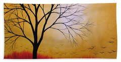 Abstract Original Tree Painting Summers Anticipation By Amy Giacomelli Hand Towel