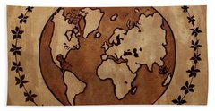 Abstract World Globe Map Coffee Painting Hand Towel