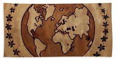 Abstract World Globe Map Coffee Painting Bath Towel