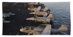 Aircraft Parked On The Flight Deck Hand Towel