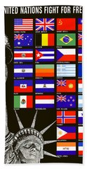 Allied Nations Fight For Freedom Hand Towel by War Is Hell Store