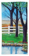 Hand Towel featuring the painting Along The Lane by Dan Whittemore