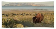 Hand Towel featuring the photograph American Bison Antelope Island Utah by Doug Herr