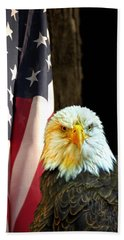 Bath Towel featuring the photograph American Eagle And American Flag by Randall Branham