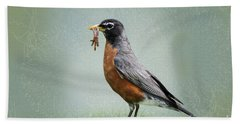 American Robin With Worms Bath Towel
