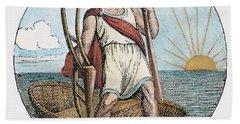 Ancient Briton And Coracle Hand Towel