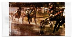 Hand Towel featuring the photograph and the winner is - A vintage processed Menorca trotting race by Pedro Cardona