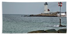 Annisquam Lighthouse Bath Towel by Joe Faherty