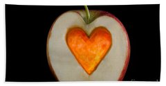 Apple With A Heart Hand Towel