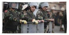 Argentine Marines Dressed In Riot Gear Hand Towel