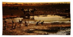 Hand Towel featuring the photograph Around The Pond by Lydia Holly