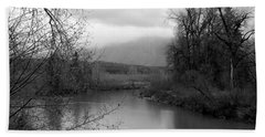 Hand Towel featuring the photograph At The River Turn Bw by Kathleen Grace