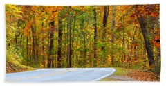 Hand Towel featuring the photograph Autumn Drive by Lydia Holly