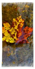 Hand Towel featuring the digital art Autumn Maple Leaf In Water by Debbie Portwood