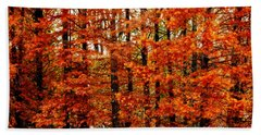 Autumn Red Maple Landscape Bath Towel by Carol F Austin