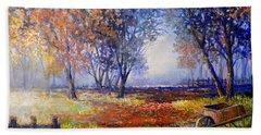Autumn Wheelbarrow Bath Towel by Lou Ann Bagnall
