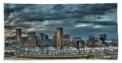 Hand Towel featuring the photograph Baltimore Inner Harbor Pano by Mark Dodd