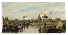 Barge On The Seine At Bougival Bath Towel