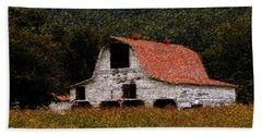 Hand Towel featuring the photograph Barn In Mountains by Lydia Holly