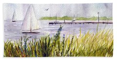 Hand Towel featuring the painting Barnegat Sails by Clara Sue Beym
