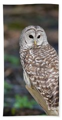 Hand Towel featuring the photograph Barred Owl by Les Palenik