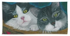 Bath Towel featuring the painting Basket Of Kitties by Ania M Milo