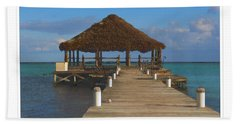 Beach Deck With Palapa Floating In The Water Hand Towel
