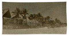 Beach Huts In A Tropical Paradise Hand Towel