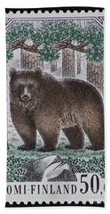 Bear Vintage Postage Stamp Print Hand Towel
