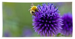 Bee On Garden Flower Bath Towel