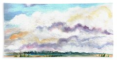 Hand Towel featuring the painting Big Clouds by Clara Sue Beym
