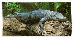 Big Gator On A Log Bath Towel by Myrna Bradshaw